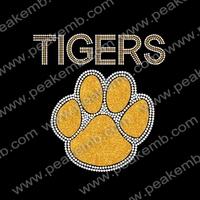 50pcs/Lot Free Shipping Tigers Paw Crystal Rhinestone Iron On Transfers Patterns Heat Press Garment Motifs
