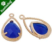 11.5x20mm matt gold plated framed glass,Faceted glass,royal blue,connectors,gemstone bezel,Sold 5pcs/lot-C4157