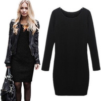 New 2014 Autumn And Winter Velvet One-piece Dress Fashion Casual Slim Long-sleeve Basic Dresses Black Gray Plus Size XXL XXXL