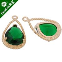 11.5x20mm matt gold plated framed glass,Faceted glass,emerald,connectors,gemstone bezel,Sold 5pcs/lot-C4158