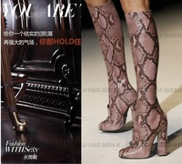 Newest 2014 autumn and winter popular python skin leather boots knee high women boots genuine leather 20 colors large size 43