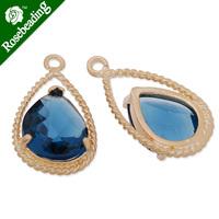 11.5x20mm matt gold plated framed glass,Faceted glass,montana,connectors,gemstone bezel,Sold 5pcs/lot-C4159