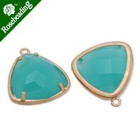 15x15mm matt gold plated framed glass,Faceted glass,pacific opal,connectors,gemstone bezel,Sold 5pcs/lot-C4170