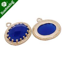15x16.5mm matt gold plated framed glass,Faceted glass,royal blue,connectors,gemstone bezel,Sold 5pcs/lot-C4162