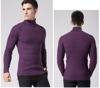 2014 Autumn Winter Men Thick Turtleneck Sweater Slim Men's Knitted Sweater Casual Solid Purple Pullovers