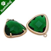 15x15mm matt gold plated framed glass,Faceted glass,emerald,connectors,gemstone bezel,Sold 5pcs/lot-C4173