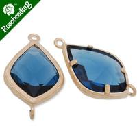 14x23mm matt gold plated framed glass,Faceted glass,montana,connectors,gemstone bezel,Sold 5pcs/lot-C4169