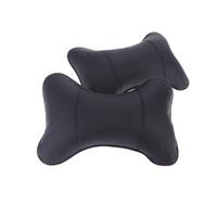 2pcs/lot Car Seat Cover Seat Pillow Headrest PU Leather Neck Rest Cushion Pillow hole-digging Auto Pillow