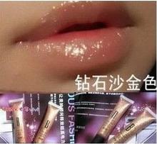 Hot New arrival make-up diamond sand gold lip gloss nourishing moisturizing lipstick fruit flavor Free Shipping(China (Mainland))