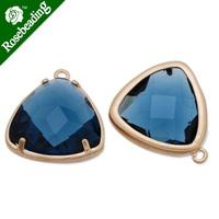 15x15mm matt gold plated framed glass,Faceted glass,montana,connectors,gemstone bezel,Sold 5pcs/lot-C4174
