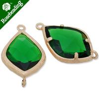 14x23mm matt gold plated framed glass,Faceted glass,emerald,connectors,gemstone bezel,Sold 5pcs/lot-C4168
