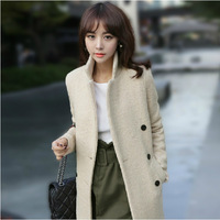 2015  winter new fashion women double-breasted apricot warm coat elegant solid long coat outwear overcoat female
