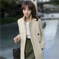 2015  winter new fashion women double-breasted apricot warm coat elegant solid long coat outwear overcoat female