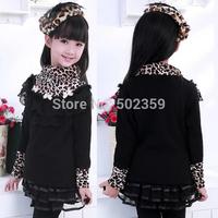 The new winter leopard shirt plus thick velvet long-sleeved T-shirt  children leopard children clothing NTZ0706