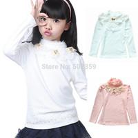Kids Girl Spring Autumn Winter Underwear 100% Cotton Turtleneck Long-sleeve Lace Basic Sweater Girl Bottoming Shirts NTZ0705