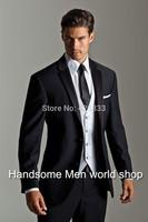 Black Men Wedding Suits Notch Lapel /prom suits/wedding groom wear slim fit mens suits(Jacket+Pants+Vest+Tie)Free Ship4688