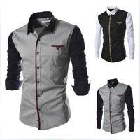 T1042 M-XXXL Free shipping 2014 Men's Casual Long sleeve shirts Fashion Men autumn Splicing design slim Shirt Patchwork shirt