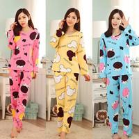 100% Cotton Casual Homewear For Women Winter Pijama Pajamas Set For Sleep Feminino Inverno Sleepwear Dormir Home Clothing Suit