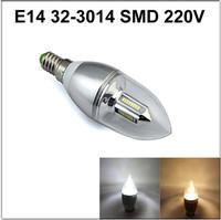 Free Shipping  E14 32-3014 SMD 3W AC DC 110v 220V Candle spotlight bulb Silver chandelier lighting white /warm white