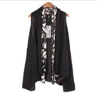 Loose Leopard Woolen Outerwear 2014 Fashion Women's Overcoat Big Size Female Knitting Jackets Plus Size Ladies Knitted Coat