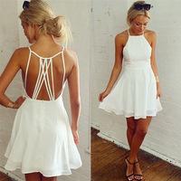 014 Explosion of women's fashion sexy backless hollow Chiffon Dress bandage dress mini bodycon dress frozen dress elsa dress