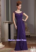 Free Shipping Fashion Custom Made 2014 A-Line Pleat Chiffon Purple Applique Zipper Floor Length Draped Mother Of Bride Dresses