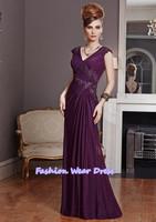 Free Shipping Fashion Custom Made 2014 A-Line V-Neck Pleat Chiffon Grape Zipper Floor Length Draped Mother Of Bride Dresses Gown