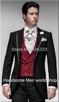 2014 Custom Made Elegant Bridegroom Black Formal suits/Wedding tuxedo for men/groom wear suits&dress(jacket+tie+vest+pants)