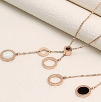 2014 fashion 14k rose gold plated titanium steel white necklaces/50cm