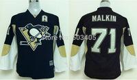 Discount Kids Pittsburgh Penguins Jerseys #71 EVGENI MALKIN Black Ice Hockey Jerseys Embroidery Logos Accept Mix Orders