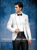 New Italian White Design Fashion Brand Suits white dress Men's wedding suit for men/Groom wear suits(jacket+Pants+Bowtie+girdle)