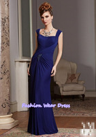 Free Shipping Fashion Custom Made 2014 Spaghetti Straps A-Line Pleat Chiffon Bue Floor Length Draped Mother Of Bride Dresses