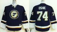 Discount Kids St. Louis Blues Jerseys #74 T.J. OSHIE Black Ice Hockey Jerseys Mix Orders Embroidery Logos