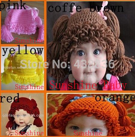 Free Shipping 100% Handmade Crochet Baby Girls Wigs Cabbage Patch Hat Infant Toddler Newborn Children's Beanie Photographic prop(China (Mainland))