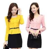 Size M-XXL 2014 Autumn Winter Elegant Office Lady Dress Long Sleeve Double Breasted Women Pencil Dresses Women Work Wear 996708