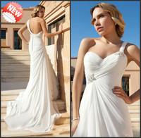 Vestido De Noiva Praia 2014 New Beach Wedding Dresses Sexy Sweetheart One Shoulder Beaded Backless Chiffon Bride Dresses