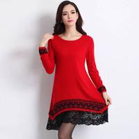2014 Autumn Winter Korean Women Long Cashmere Sweater Dress Irregular Loose Print Lace Layer Large Size Pullover M- XL