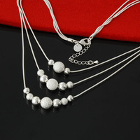 2014 New Free Shipping 925 Silver Beads Pendants Snake Chain Necklaces High Quality Fashion Girl's Women Jewelry Wholesale XL114