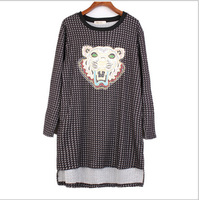 Vintage Women's Loose Dress 2014 Plus Size Female Long Sleeve Cartoon Embroidery Clothing Big Size Lady Winter Clothes Blouse