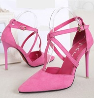 size 35-43 fashion ladies wedding shoes woman pointed toe ankle strap pumps sexy high heels women shoes summer sandals GD141482