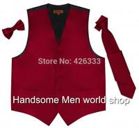 2014 Elegant Groom's Wear Burgundy Waistcoat/Wedding Vest for man Or Best man Clothing custom made(Vest+Bowtie)Free Shipping