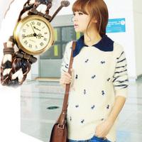 Watch Braided PU Leather Cord Bracelet 2014 Fashion Watch Lady Promotion DHL Free Shipping
