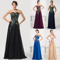 Amazing Strapless Long Handmade Embroidery Peacock Black Chiffon Evening Dress Gowns CL6168Y