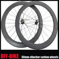 High Performance 700c carbon fiber 50mm clincher road bike wheelset Novatec hub V brake Free 1 Year Warranty