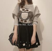 New Autumn Korean Women temperament bat sleeve loose piece Slim thin dress skirt bottoming winter