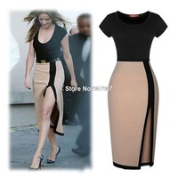 Women's Fashion Sexy Nightclub Mid-Calf Dresses Spell Color Short-Sleeved O-Neck Side Slit Slim Woman Evening Dress