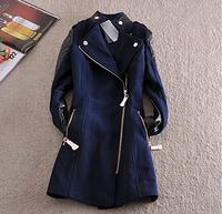 Parkas For Women Winter Coat 2014 Color Patchwork Brief Vintage Office Thick Long Women's Wool Plus Size Coats Female Overcoat