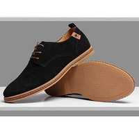 Fashion British Spring/Autumn Men Flats Basic Casual Genuine Leather shoes Suede Large Size Shoe 1 Pair Blue Black Free Shipping