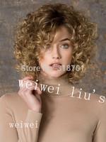 Fashion Gold Blonde Full-Volume Curls Lounge Medium Wig For Woman free shipping