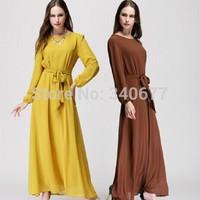 New Arrival 2014 Chiffon Full Sleeve Solid Colors Long Dress,Fashion Muslim Dress,Popular Caftans,Islamic Abaya Free Shipping